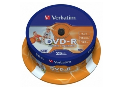 Диск DVD-R Verbatim 4.7Gb 16x Cake Box (25шт) Printable (43538)