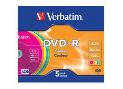 Диск DVD-R Verbatim 4.7Gb 16x Slim case (5шт) Color (43557)