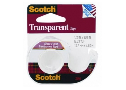 Клейкая лента канцелярская 3M Scotch Transparent 7100010900 прозрачная шир.12.7мм дл.7.6м на мини-диспенсере