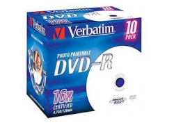 Диск DVD-R Verbatim 4.7Gb 16x Jewel case (10шт) Printable (43521)